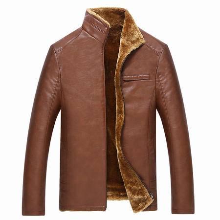 汤河之家 2016年冬季中年男式皮衣加绒加厚男士爸爸装皮外套立领皮夹克  P001