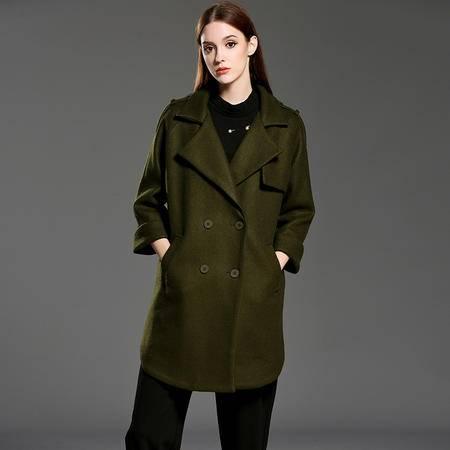 施悦名 秋冬季新款风衣欧美时尚女士服装纯色中长款双排扣外套
