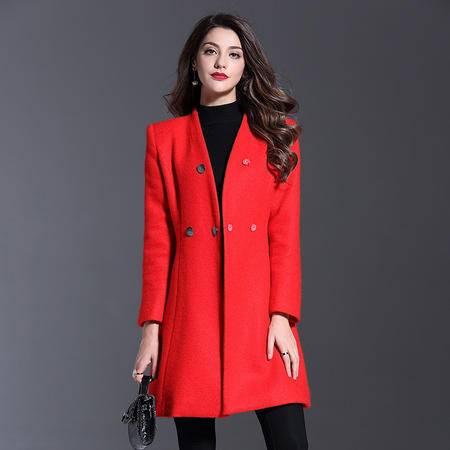 施悦名 欧洲站2016秋冬装女装新款简约时尚纯色三粒扣加厚羊毛呢子外套女