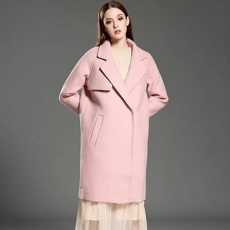 施悦名 2016秋冬新款毛呢外套长款女式大衣韩版白领上班族粉红羊毛风衣
