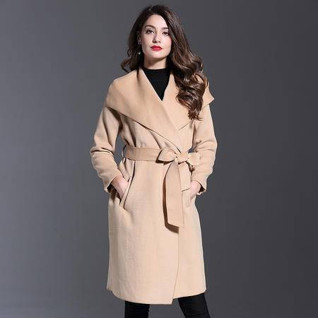 施悦名 秋冬女装外套2016新款大翻领宽松大码收腰系带长款毛呢外套女
