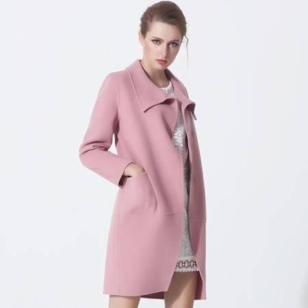 施悦名 毛呢外套女秋冬新款欧洲站大码女装大翻领羊毛呢风衣女