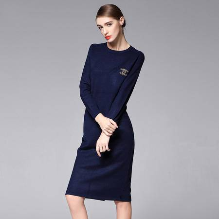 施悦名 一步裙圆领秋冬羊毛呢针织打底茧型长款修身连衣裙