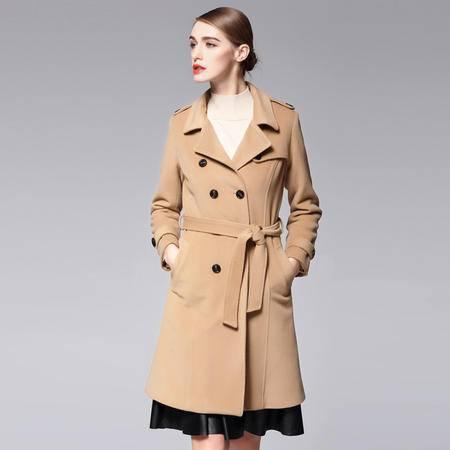 施悦名 风衣女秋冬欧美女装新款双排扣羊毛呢大衣外套女
