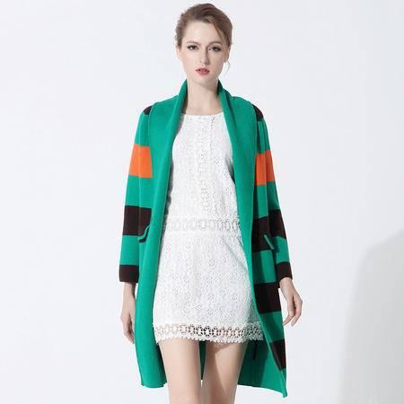 施悦名 羊绒大衣女秋冬新款欧美大码女装条纹修身长款风衣外套女