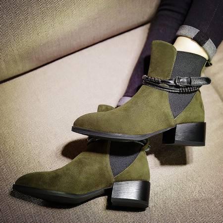 小童马 韩版真皮切尔西靴女尖头 英伦风磨砂低筒短靴粗跟弹力女靴子   FX726
