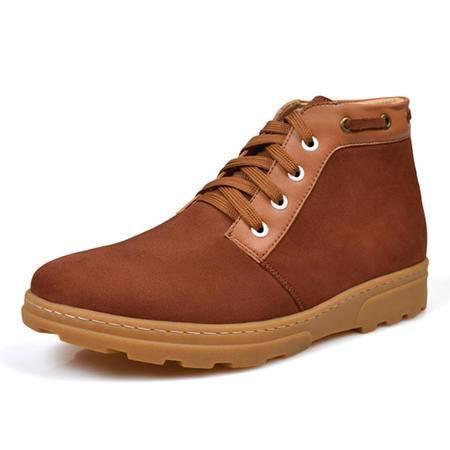 小童马 冬季保暖男士增高鞋休闲高帮鞋皮鞋男式隐形内增高男鞋6cm男靴子   992