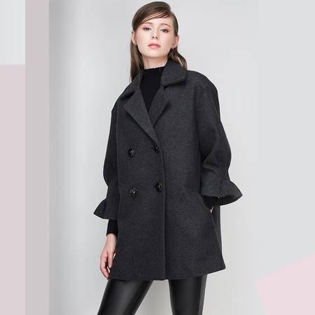 施悦名 2016冬季新款高档中长款羊毛呢大衣喇叭袖宽松厚外套