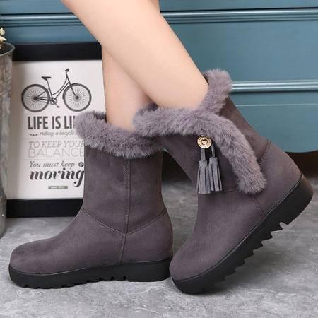 小童马 2016新款冬款纯色中跟马丁靴欧美保暖防滑皮流苏雪地靴 5212