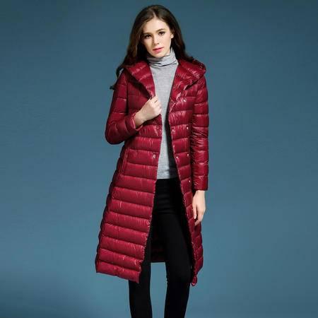 施悦名 欧洲站2016冬装新款白鸭绒轻薄羽绒服女士加长款修身外套