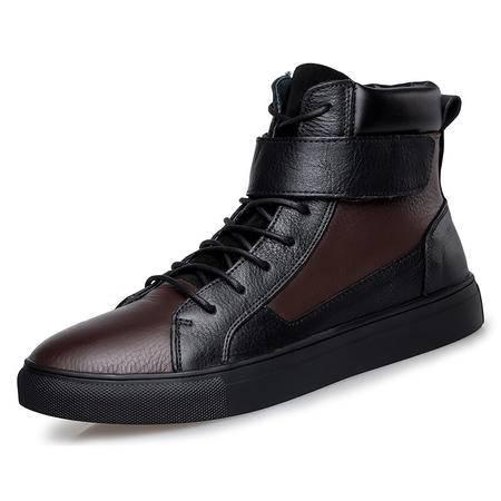 小童马 2016新款皮靴英伦时尚男靴中筒欧美防滑马丁靴男士皮毛一体雪地靴 BH5853