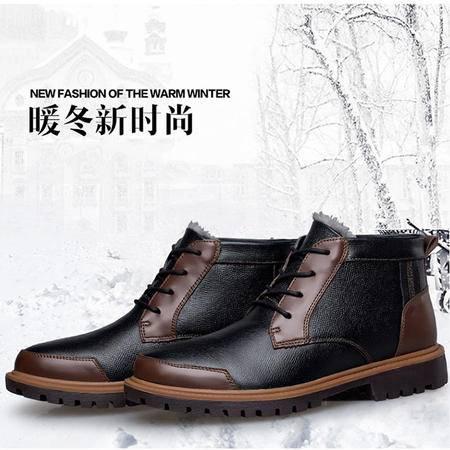 小童马 冬季新款男士英伦系带加绒马丁靴真皮中帮休闲雪地靴男鞋皮靴男 H599