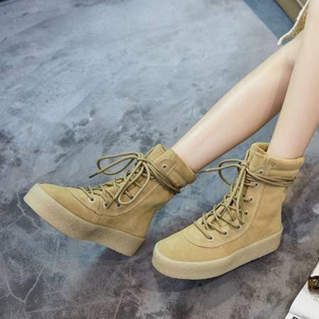 小童马 秋冬新款欧美风女靴系带厚底松糕纯色女鞋流行马丁靴 9611