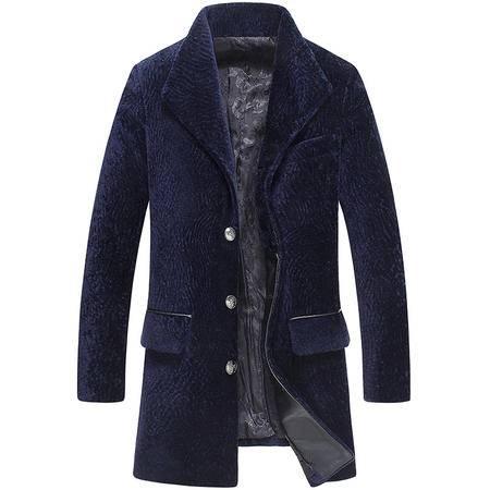 汤河之家 冬季新款单排扣羊剪绒皮毛一体男真皮皮衣中长款青年修身皮草外套   LSY069093