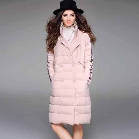 施悦名 2016冬装新款欧美宽松中长款女长袖双排扣立领保暖加厚羽绒服