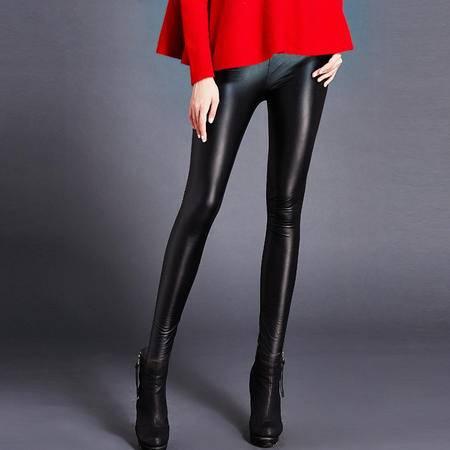 施悦名冬季打底裤子高端紧身皮裤女冬加绒加厚显瘦弹力PU铅笔裤