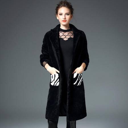 施悦名 欧洲站皮毛一体外套女中长款长袖拼接斑马纹羊剪绒皮草大衣厚
