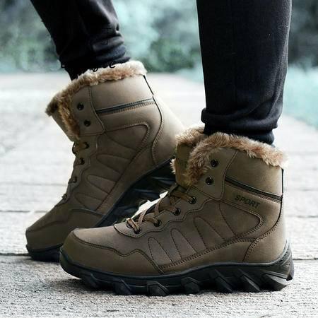小童马 东北冬季户外雪地靴男加绒保暖真皮欧美棉鞋中筒加绒加厚防滑男靴 926
