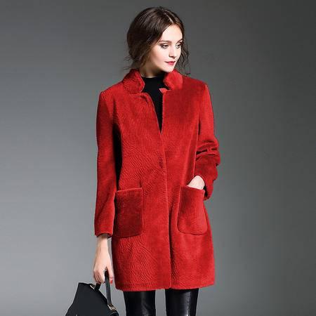 施悦名 2016冬季新款高档女士皮毛一体羊剪绒皮草大衣中长款修身大码外套