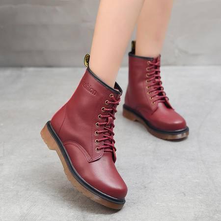 小童马 2016冬季新款欧美风马丁靴潮女短靴加绒低筒保暖真皮女靴 8039