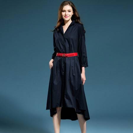 施悦名 欧洲站女装秋季新款一件代发纯色开衫修身女装收腰连衣裙