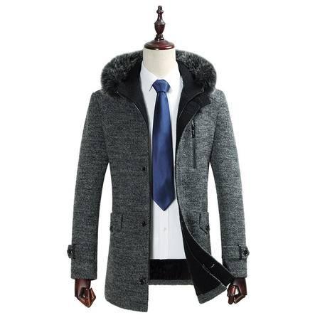 汤河之家 2016秋冬新款男式羊毛呢大衣 韩版修身中长款加厚连帽毛呢外套男   1762