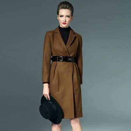 施悦名 冬季纯色西装领九分袖风衣修身显瘦毛呢大衣裙呢子外套女