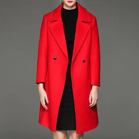 施悦名 欧洲站2016秋冬新款女装优雅气质时尚西装领系带显瘦羊毛呢子大衣