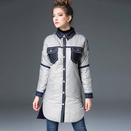 施悦名 欧洲站2016秋冬季新款中长款羽绒服修身轻薄款正反穿外套女