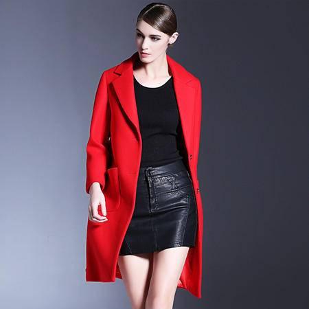 施悦名 欧美2016秋冬新款女装高端气质时尚翻领纯色外套 宽松羊毛呢大衣
