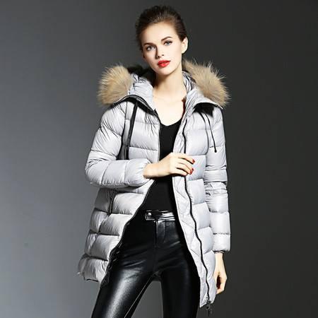 施悦名 2016冬季新款女装韩版a字型中长款 貉子大毛领 高档白鸭绒羽绒服