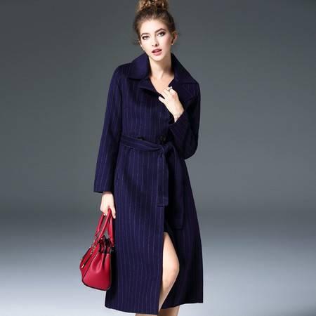 施悦名 欧洲站2016秋冬季新款女装纯手工双面呢羊绒大衣修身女外套