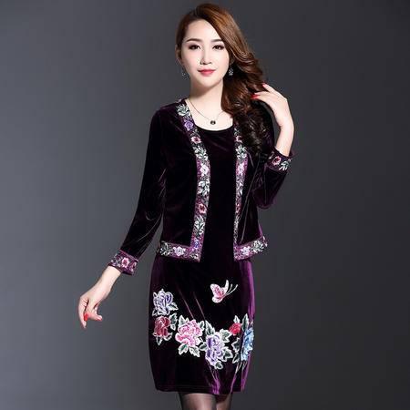 施悦名 秋冬新款中年女装显瘦绣花韩国丝绒妈妈装两件套连衣裙