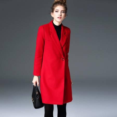 施悦名 欧洲站2016秋冬季新款女装气质修身呢子大衣中长款女士外套