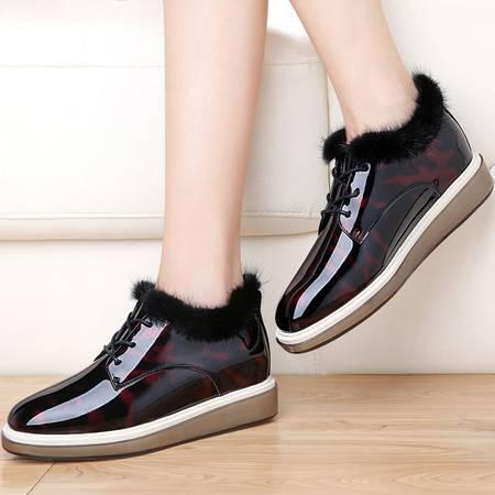 小童马 圆头系带女靴子 镜面平底女短靴 防水台女鞋子   3174