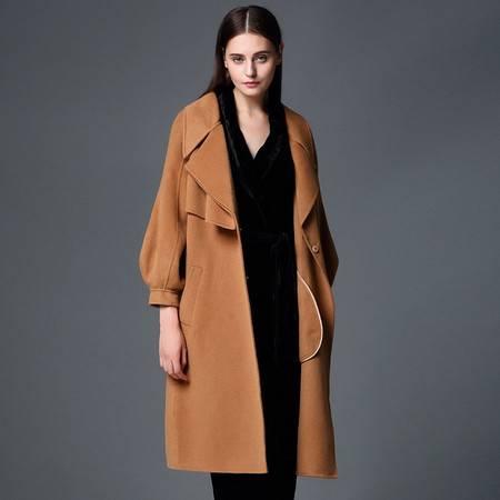 施悦名 欧洲站2016秋冬新款女装长款纯手工双面呢羊绒大衣毛呢外套