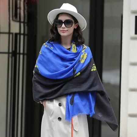 施悦名 2016秋冬新款女式羊绒围巾拼色女式羊绒围巾披肩两用空调