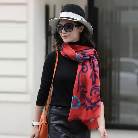 施悦名 2016秋冬新品欧美时尚女式羊绒围巾印花空调两用围巾披肩