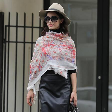 施悦名 2016新款秋季羊绒围巾女时尚印花女士围巾两用围巾保暖羊绒披肩