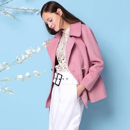 施悦名 欧洲站2016秋冬新款女装纯手工双面呢羊绒大衣短款毛呢外套
