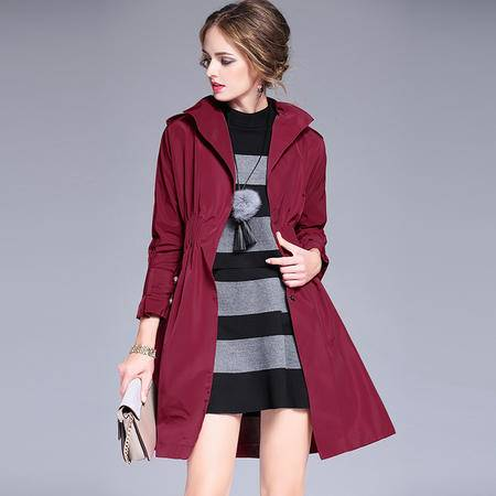 施悦名 2016秋冬欧美女装新品气质翻领大衣系带收腰显瘦长款风衣外套