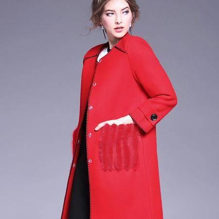 施悦名 欧洲站冬季新款高端羊毛呢子外套中长款红色欧美毛呢大衣
