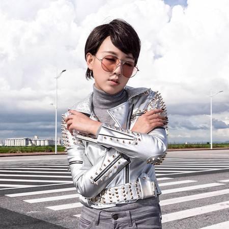 施悦名 2016秋冬韩女装新品机车皮衣女外套修身铆钉PU夹克朋克