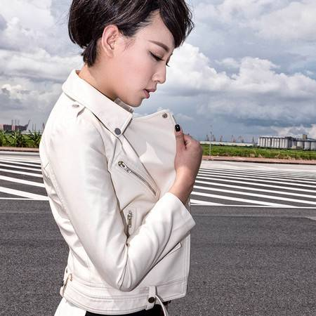 施悦名 2016秋冬通勤OL女装新品PU皮衣女士修身机车夹克黑色外套