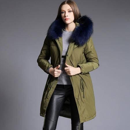 施悦名 冬季新款欧美大牌羽绒服外套明星同款超大貉子毛加厚白鸭绒羽绒服