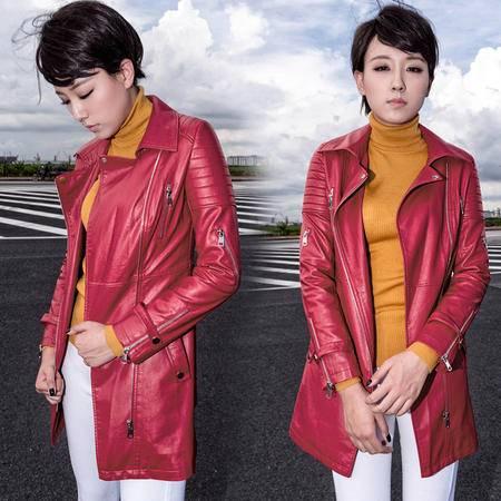 施悦名 2016秋冬韩版女装新品休闲机车皮衣女士外套修身中长款PU夹克