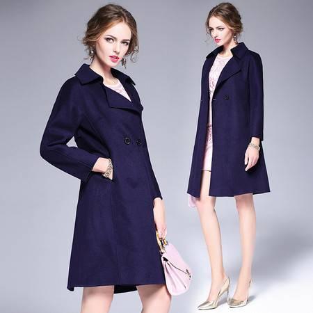 施悦名 2016新款欧美羊毛双面呢毛呢外套气质修身中长款呢子大衣女士