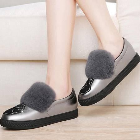 小童马 圆头套脚女靴子 獭兔毛平底短靴 防水台女鞋子   3145