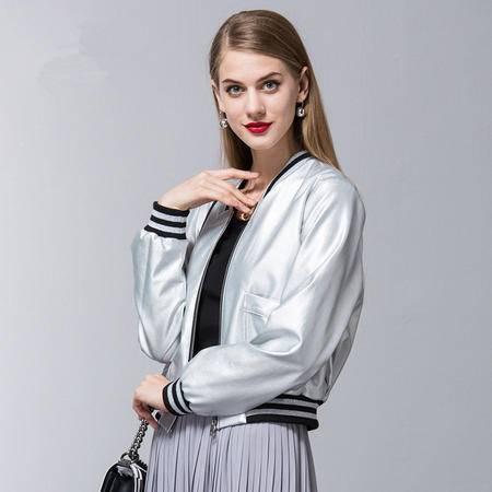 施悦名 欧美秋冬新品超短长袖外套修身时尚学上衣夹克2016