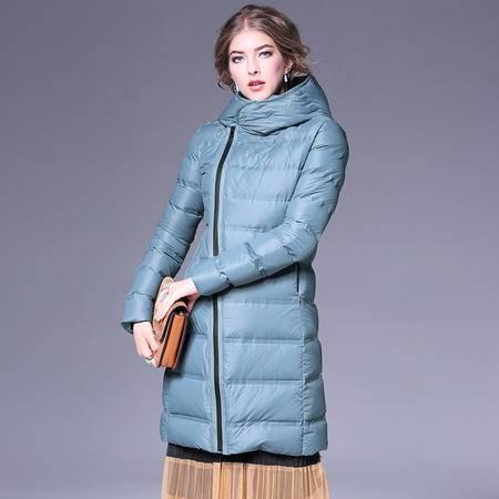 施悦名 2016欧洲站冬季新款连帽加厚羽绒服长款修身显瘦保暖长袖外套